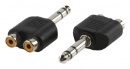 AC-011 Stereo-Audio-Adapter 6.35 mm Male - 2x RCA Female Zwart