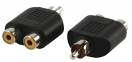 AC-016 Mono-Audio-Adapter RCA Male - 2x RCA Female Zwart