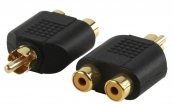 AC-016GOLD Mono-Audio-Adapter RCA Male - 2x RCA Female Zwart
