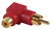 AC-055 Stereo-Audio-Adapter 90° Haaks RCA Male - RCA Female Rood