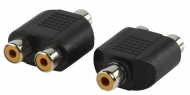 AC-056 Stereo-Audio-Adapter RCA Female - 2x RCA Female Zwart