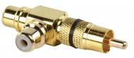 AC-059 Stereo-Audio-Adapter 90° Haaks RCA Male - 2x RCA Female Zwart