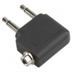 AC-069 Vliegtuig Audio-Adapter 90° Haaks 2x 3.5 mm Male - 3.5 mm Female Zwart