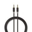 CABP22000AT10 Stereo-Audiokabel | 3,5 mm Male | 3,5 mm Male | Verguld | 1.00 m | Rond | Antraciet | Polybag