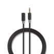 CABP22050AT20 Stereo-Audiokabel | 3,5 mm Male | 3,5 mm Female | Verguld | 2.00 m | Rond | Antraciet | Polybag