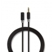 CABP22050AT30 Stereo-Audiokabel | 3,5 mm Male | 3,5 mm Female | Verguld | 3.00 m | Rond | Antraciet | Polybag