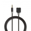 CABP22100AT02 Stereo-Audiokabel | 3,5 mm Male | 2x 3,5 mm Female | Verguld | 0.20 m | Rond | Antraciet | Polybag
