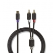 CABP24020AT02 Stereo-Audiokabel | 2x RCA Male | RCA Female | Verguld | 0.20 m | Rond | Antraciet | Polybag