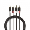 CABP24200AT10 Stereo-Audiokabel | 2x RCA Male | 2x RCA Male | Verguld | 1.00 m | Rond | Antraciet | Polybag