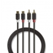 CABP24205AT20 Stereo-Audiokabel | 2x RCA Male | 2x RCA Female | Verguld | 2.00 m | Rond