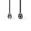 CAGB22090BK10 Stereo-Audiokabel | 3,5 mm Male | 3,5 mm Female | Vernikkeld | 1.00 m | Rond | Zwart | Blister