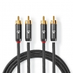 CATB24200GY30 Stereo-Audiokabel | 2x RCA Male | 2x RCA Male | Verguld | 3.00 m | Rond | Gunmetal/Grijs | Cover Window Box