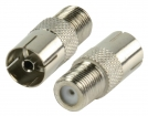 FC-028PROF Coax-Adapter F F-Connector Female - Coax Female (IEC) Zilver