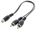 VLAP24020B02 Subwooferkabel 2x RCA Male - RCA Female 0.20 m Zwart