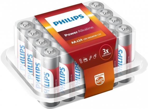 24 STUKS PHILIPS ALKALINE AA BATTERIJEN IN BOX