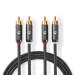CATB24200GY10 Stereo-Audiokabel | 2x RCA Male | 2x RCA Male | Verguld | 1.00 m | Rond | Gunmetal/Grijs | Cover Window Box