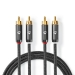 CATB24200GY50 Stereo-Audiokabel | 2x RCA Male | 2x RCA Male | Verguld | 5.00 m | Rond | Gunmetal/Grijs | Cover Window Box